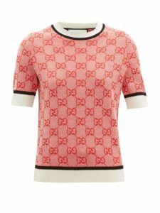 Gucci - Gg-jacquard Short-sleeved Wool-blend Sweater - Womens - Red Multi