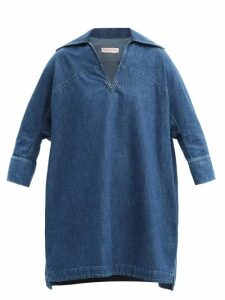 Alexander Mcqueen - Floral Jacquard Single Breasted Satin Blazer - Womens - Navy Multi