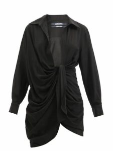 Redvalentino - Scalloped Leather Midi Skirt - Womens - Red