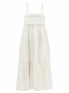 Roksanda - Marola Pleated Cotton Midi Dress - Womens - Orange