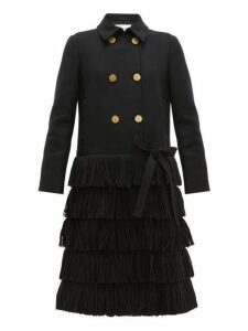 Redvalentino - Bow Trim Fringed Wool Blend Coat - Womens - Black
