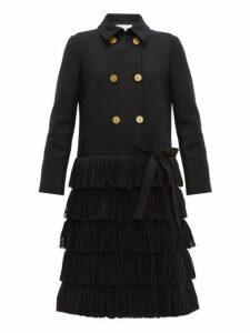Redvalentino - Bow Trim Fringed Wool Blend Coat - Womens - Black