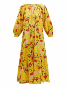Borgo De Nor - Natalia Lip And Floral Print Cotton Midi Dress - Womens - Yellow Multi