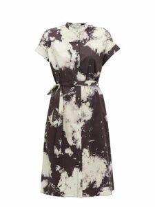 Sea - Ione Tie Dye Cotton Blend Shirtdress - Womens - Black White