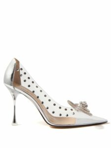Msgm - Metallic Faux Leather Flared Midi Skirt - Womens - Silver