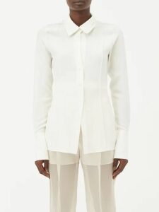 Msgm - Houndstooth Tie Neck Wool Blend Top - Womens - Brown