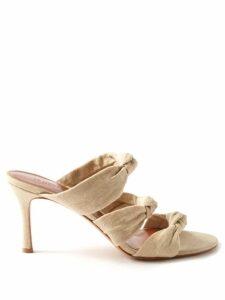Emilia Wickstead - Glenda Square Neckline Wool Crepe Midi Dress - Womens - Dark Pink