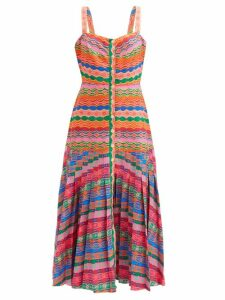 Alexandre Vauthier - Gun Club Check Double Breasted Longline Blazer - Womens - Burgundy Multi