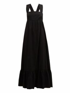 Borgo De Nor - Mila Crossover Back Cotton Poplin Maxi Dress - Womens - Black