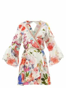 Borgo De Nor - Mila Floral Print Cross Back Poplin Dress - Womens - White Multi