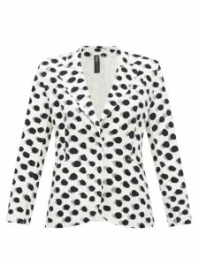 Norma Kamali - Watercolour Polka Dot Single Breasted Blazer - Womens - White Black