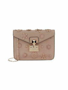Floral Embellished Leather Crossbody Bag