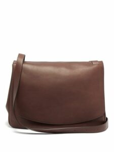 The Row - Mail Large Leather Shoulder Bag - Womens - Dark Brown