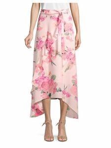 Floral Asymmetrical Ruffle Skirt