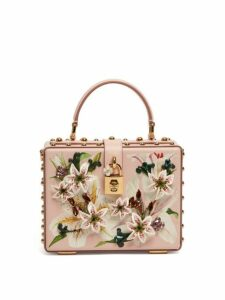 Dolce & Gabbana - Dolce Box Lily Print Grained Leather Bag - Womens - Pink Multi