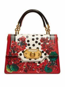 Dolce & Gabbana - Welcome Geranium Print Leather Bag - Womens - Red Multi