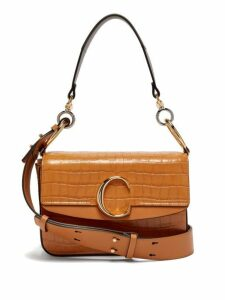 Chloé - The C Small Crocodile Effect Leather Shoulder Bag - Womens - Amber