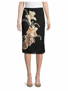 Floral Lace Cotton Blend Skirt