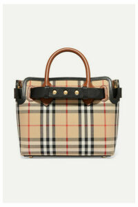 Burberry - Leather-trimmed Checked Coated-canvas Tote - Brown