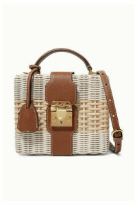 Mark Cross - Harley Textured Leather-trimmed Two-tone Rattan Shoulder Bag - Off-white