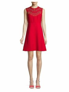 Studded Wool & Silk Blend A-Line Dress