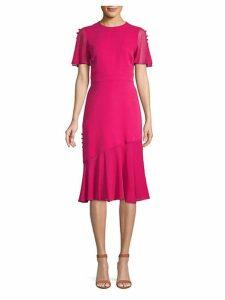 Button-Trimmed Silk Dress
