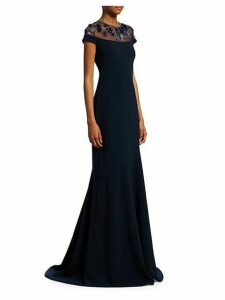 Embellished-Yoke Mermaid Gown
