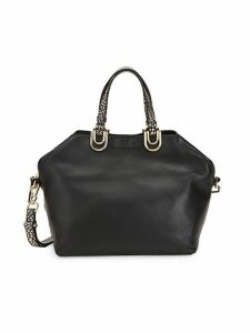 Animal Print Angular Leather Satchel
