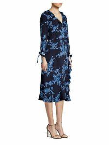 Shadow Floral Wrap Dress