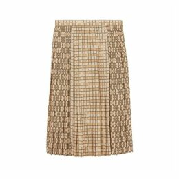 Burberry Contrast Graphic Print Pleated Skirt