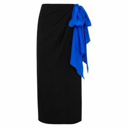 Anna October Black Crepe De Chine Wrap Skirt