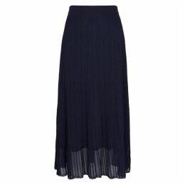 Vince Navy Rib-knit Plissé Midi Skirt