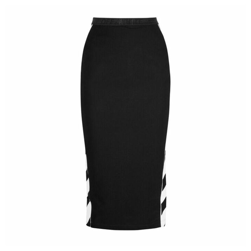 Off-White Diag Striped Jersey Midi Skirt