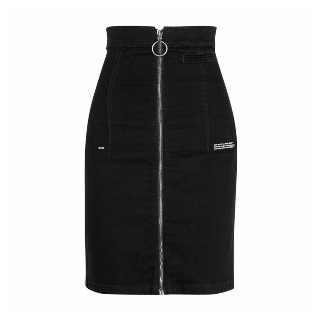 Off-White Black Stretch-denim Skirt