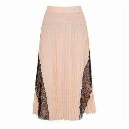 Boutique Moschino Blush Lace-trimmed Chiffon Midi Skirt