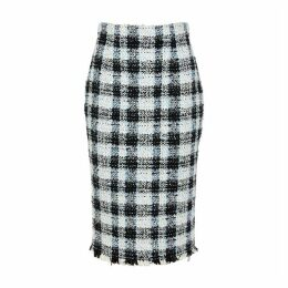Alexander McQueen Checked Bouclé Tweed Skirt