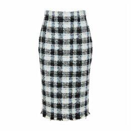 Alexander McQueen Checked Bouclé Tweed Skirt