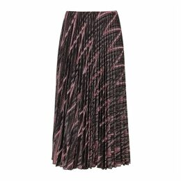 M Missoni Zigzag Metallic-knit Plissé Midi Skirt