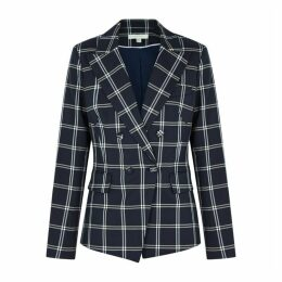 Jonathan Simkhai Navy Checked Twill Blazer