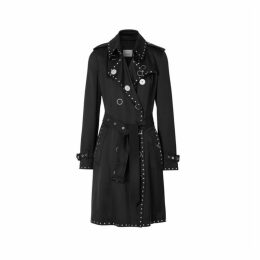 Burberry Stud Detail Silk Satin Trench Coat