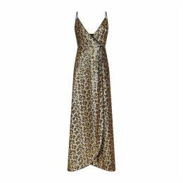 Aidan Mattox Leopard Sequin Wrap Dress