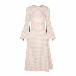 Rosetta Getty Cream Checked Stretch-knit Dress