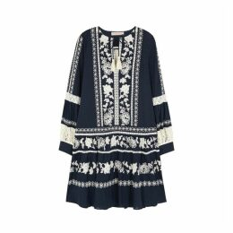 Tory Burch Boho Navy Embroidered Cotton Dress