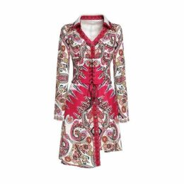 Comino Couture Paisley For Days - Hot Pink Shirt Dress With Corset Belt