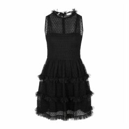 RED Valentino Black Smocked Tulle Mini Dress