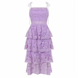 True Decadence Lilac Lace Tiered Midi Dress