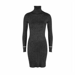 Off-White Black Metallic-weave Ribbed Mini Dress