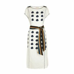 Tory Burch White Embroidered Linen-blend Midi Dress