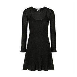 M Missoni Black Metallic-knit Mini Dress