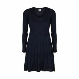 M Missoni Navy Panelled Fine-knit Mini Dress